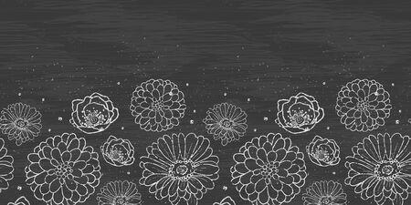 Chalk flowers blackboard horizontal border seamless pattern background photo