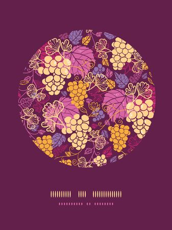 Vector sweet grape vines circle decor pattern background with hand drawn fruit and leaves. photo