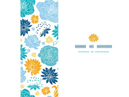 Vector blue and yellow flower silhouettes horizontal decor seamless pattern background on dark blue. photo