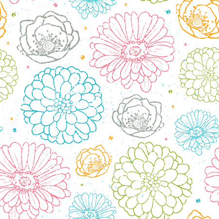 Vector chalk flowers colorful seamless pattern background line art floral elements. photo