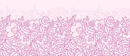 Vector pink flowers lineart horizontal seamless pattern background with line art flowers. Stock Photo