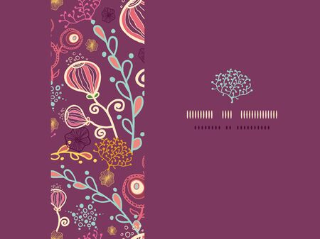 Vector underwater plants horizontal frame seamless pattern background photo