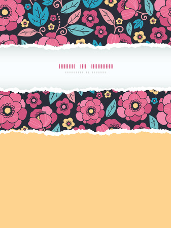 Vector Night Kimono Blossom Vertical Torn Frame Seamless Pattern Background with vibrant Asian style flowers on black background photo
