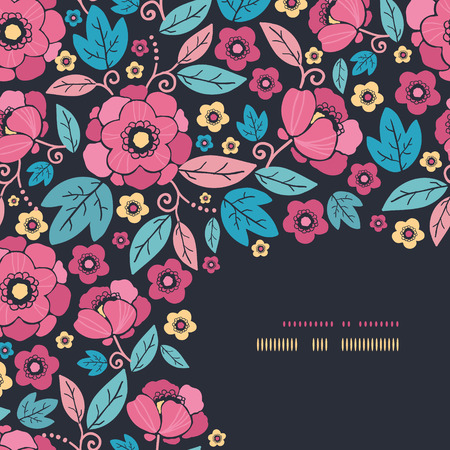 Vector Night Kimono Blossom Corner Decor Pattern Background with vibrant Asian style flowers on black background photo
