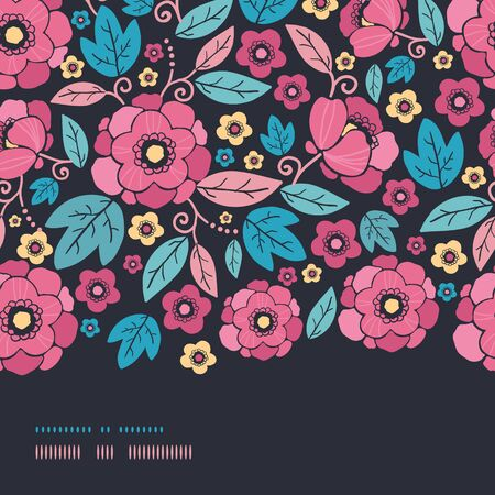 Vector Night Kimono Blossom Horizontal Border Seamless Pattern Background with vibrant Asian style flowers on black background Stock Photo