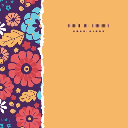 Vector colorful bouquet flowers square torn seamless pattern background photo