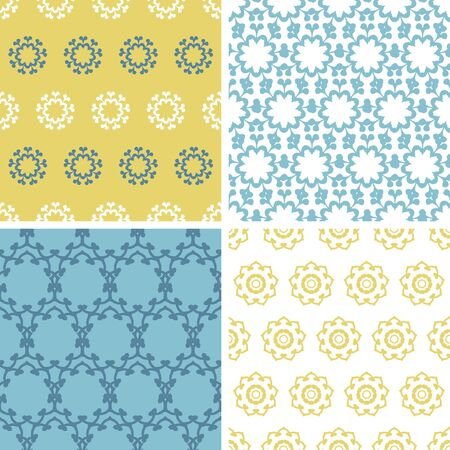 vector four abstractyellow blue abstract florals seamless pattern background set photo