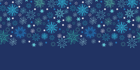 Vector night snowflakes seamless pattern background  horizontal border with hand drawn elements. photo