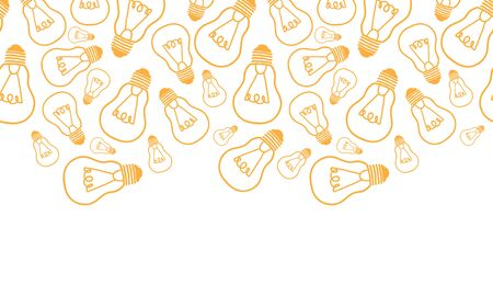 Vector light bulbs line art horizontal seamless pattern background border with hand drawn elelements. photo