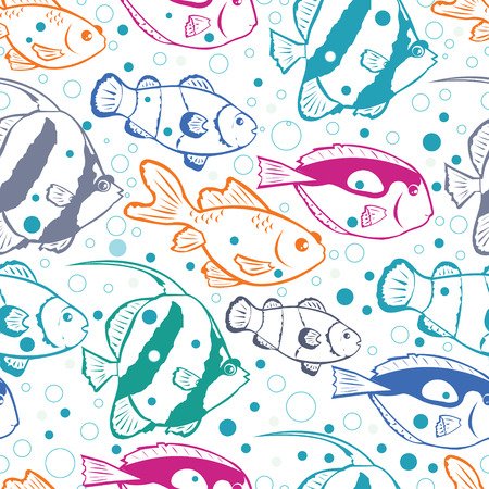 Vector colorful fish vector seamless pattern background with hand drawn elements. photo