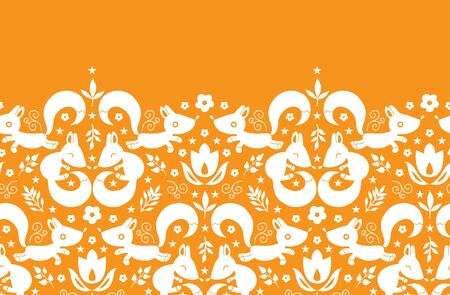 vector cute geometrical foxes horizontal border seamless pattern background photo