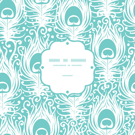 peacock pattern: Soft peacock feathers vector frame seamless pattern background with hand drawn elements.