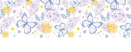 Vector butterfly garden horizontal seamless pattern background with hand drawn elements photo