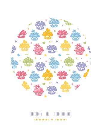 Vector colorful cupcake party circle decor pattern background with hand drawn elements. photo