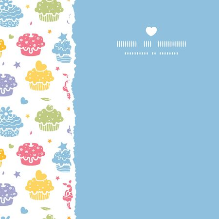 Vector colorful cupcake party square torn seamless pattern background with hand drawn elements.