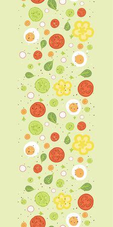 신선한 샐러드에게 손으로 그린 요소와 수직 원활한 패턴 배경 벡터 스톡 콘텐츠 - 26393990