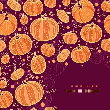vector Thanksgiving pumpkins corner decor pattern background with hand drawn elements photo
