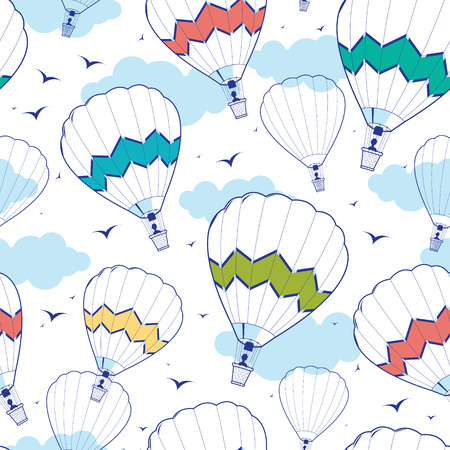 Vector colorful hot air balloons seamless pattern background with hand drawn elements Banque d'images