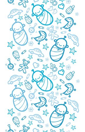 Vector baby boys vertical seamless pattern background with hand drawn elements. photo