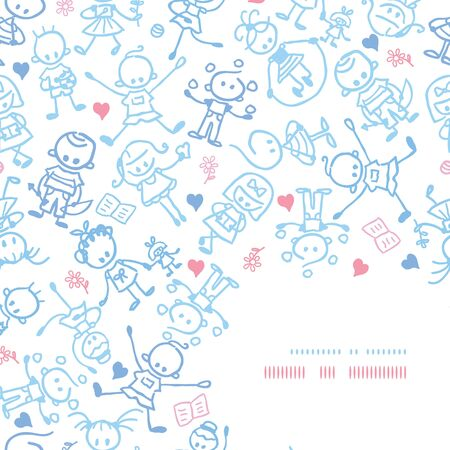 Vector playing children corner decor pattern background ornament with hand drawn elements. photo