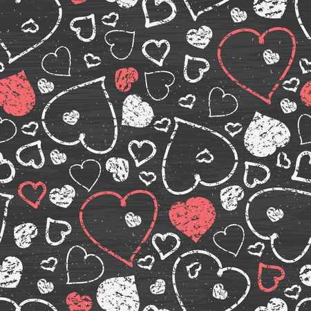 Vector chalkboard art hearts seamless pattern background with hand drawn elements photo