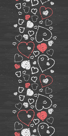 Vector chalkboard art hearts vertical border seamless pattern background with hand drawn elements photo