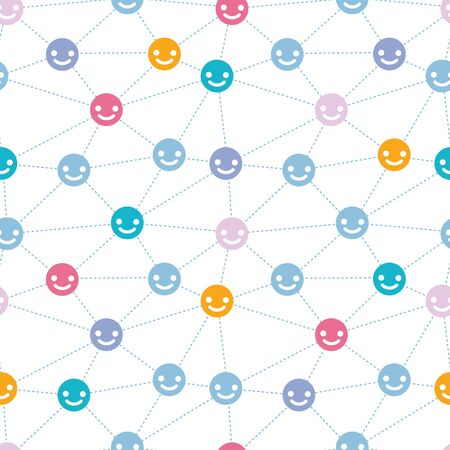 human face: vector network of happy faces seamless pattern background Stock Photo
