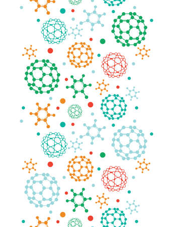Vector colorful molecules vertical seamless pattern background in pastel colors photo