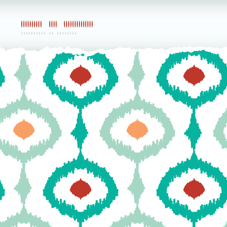 Vector colorful chain ikat frame horizontal torn seamless pattern background photo