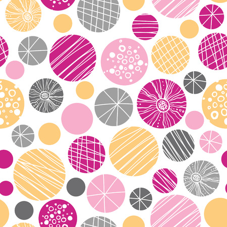 textile image: vector abstract textured bubbles seamless pattern background with hand drawn elements