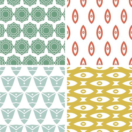 Vector set of four tribal shapes abstract geometric patterns and backgrounds photo