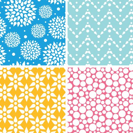 Vector set of Four vibrant abstract geometric patterns and backgrounds photo