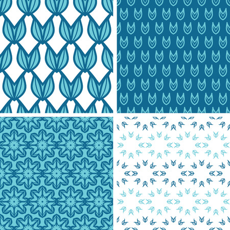 vector four abstractblue tulip shapes seamless patterns set in matching color scheme photo