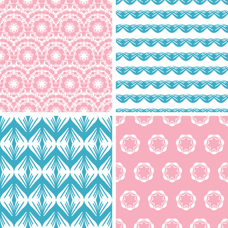vector four abstract pink blue folk motives seamless patterns set in matching color scheme photo