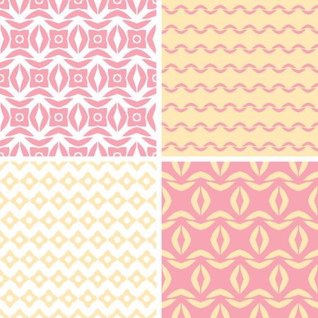 Vector set of four tribal pink and yellow abstract geometric patterns and backgrounds photo
