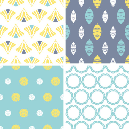 vector four abstract fun motives seamless patterns set in matching color scheme photo