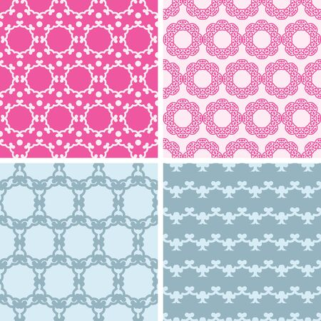 vector four abstract chain motives seamless patterns set in matching color scheme photo