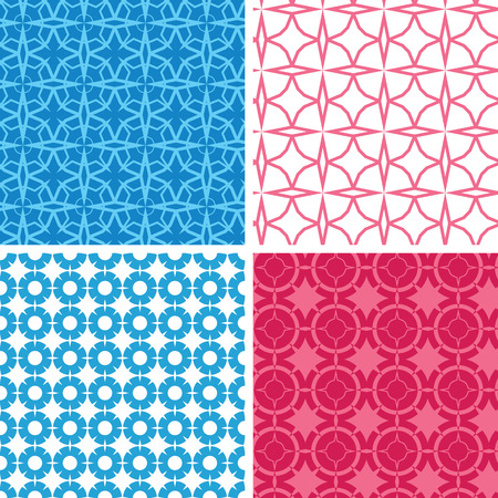 Vector set of four blue and red abstract geometric patterns and backgrounds photo