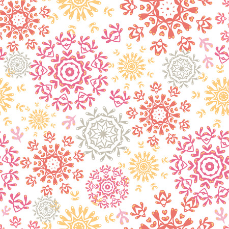 vector folk floral circles abstract seamless pattern background