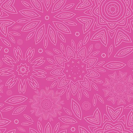 ベクター ピンク抽象花テクスチャのシームレスなパターン背景