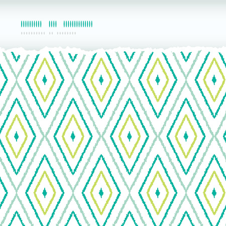 Vector green ikat diamonds torn horizontal seamless patterns backgrounds with hand drawn elements photo