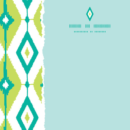 Vector emerald green ikat diamonds square torn seamless patterns backgrounds with hand drawn elements photo
