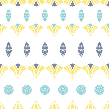 Vector abstract tribal shapes stripes seamless pattern background with hand drawn elements. photo