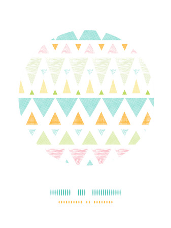 Vector abstract ikat triangles stripes circle decor pattern background with hand drawn elements. photo