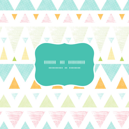 Vector abstract ikat triangles stripes frame seamless pattern background with hand drawn elements. photo