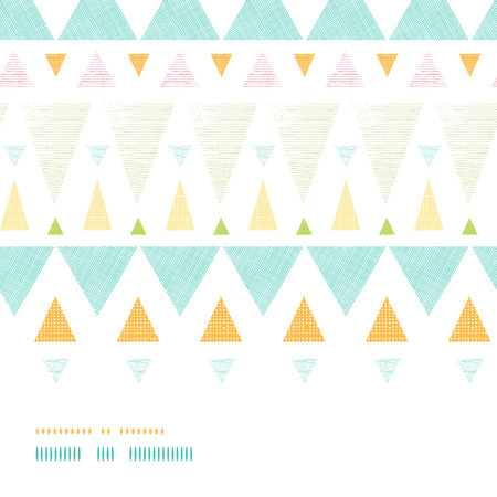Vector abstract ikat triangles stripes horizontal seamless pattern background with hand drawn elements. photo