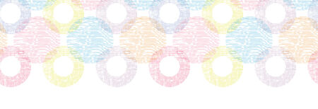 vector colorful textile circles horizontal  seamless patter background border with hand drawn elements photo