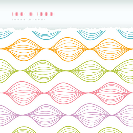 horizontal: Vector colorful horizontal ogee horizontal torn seamless pattern background with hand drawn elements Stock Photo