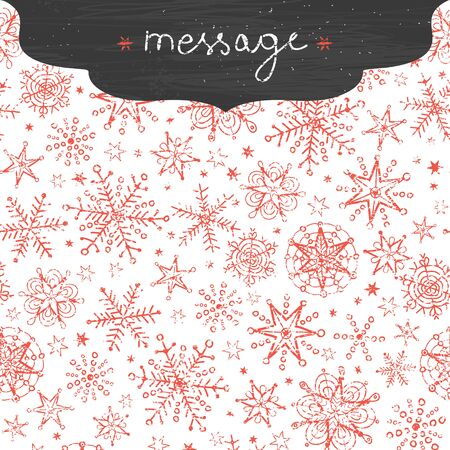 vector chalkboard snowflakes frame border seamless pattern background with drawn snowflakes on light sky background. photo