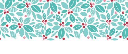 Vector Christmas holly berries horizontal seamless pattern background with hand drawn elements photo